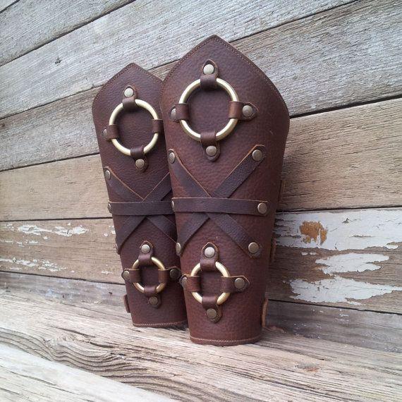 Oiled Brown Leather Peaked Bracers or Gauntlets by VampieOodles