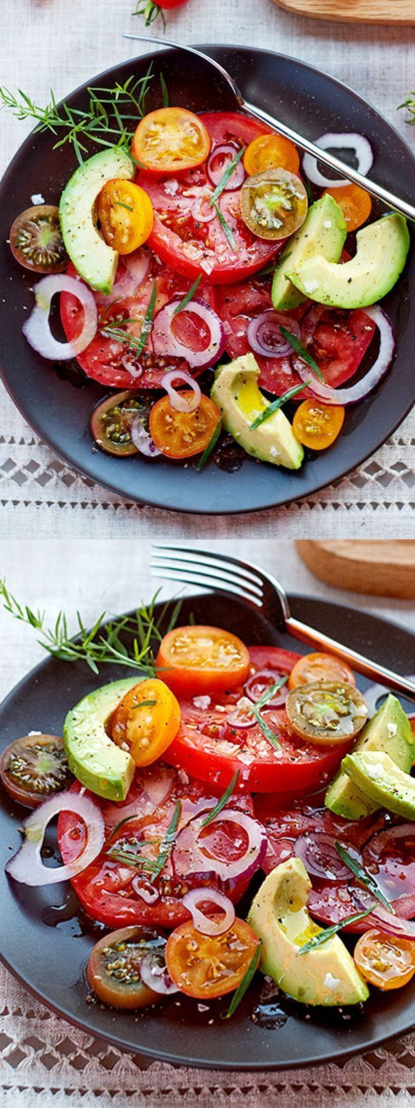 This simple #salad is the perfect solution for garden fresh #tomatoes and creamy #avocado | #recipe on foodiecrush.com