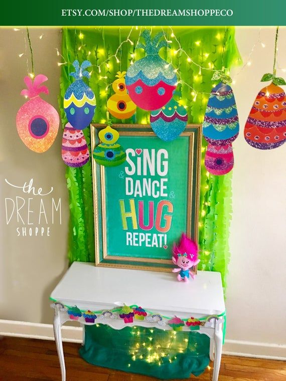 Trolls Digital Bundle! • DIGITAL PRINTS • Trolls Party Decor • Troll Pods, Cupcake Cutouts, & Sing and Dance and Hug Repeat Print!