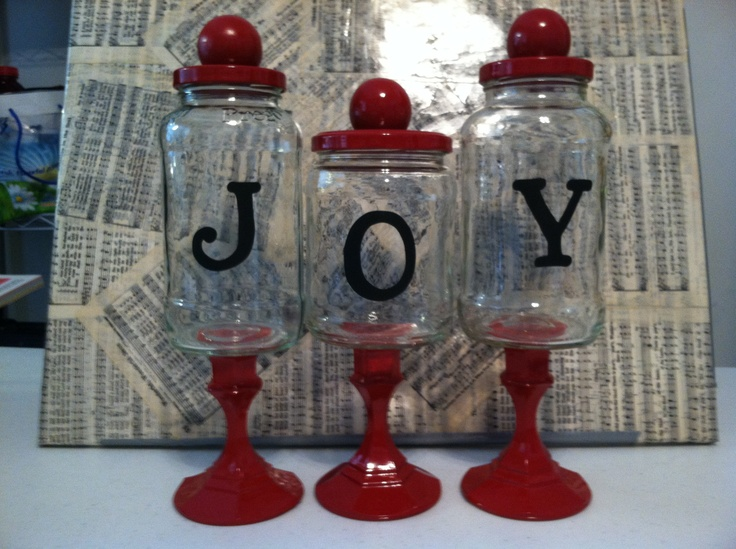 Apothecary spaghetti/salsa jars and candle stick holders. For the Mission Auction