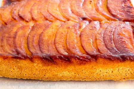 Gluten free apple upside down cake baked from dairy and oil free batter with puree apple puree