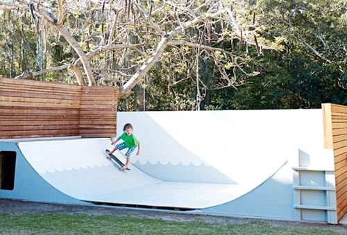 totally rad skateboard half pipe - i need this in my backyard!