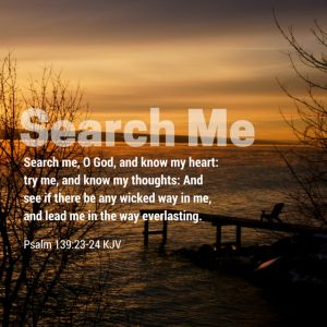 """""""Search me, O God, and know my heart: try me, and know my thoughts: And see if there be any wicked way in me, and lead me in the way everlasting"""" - Psalm 139:23-24 KJV"""