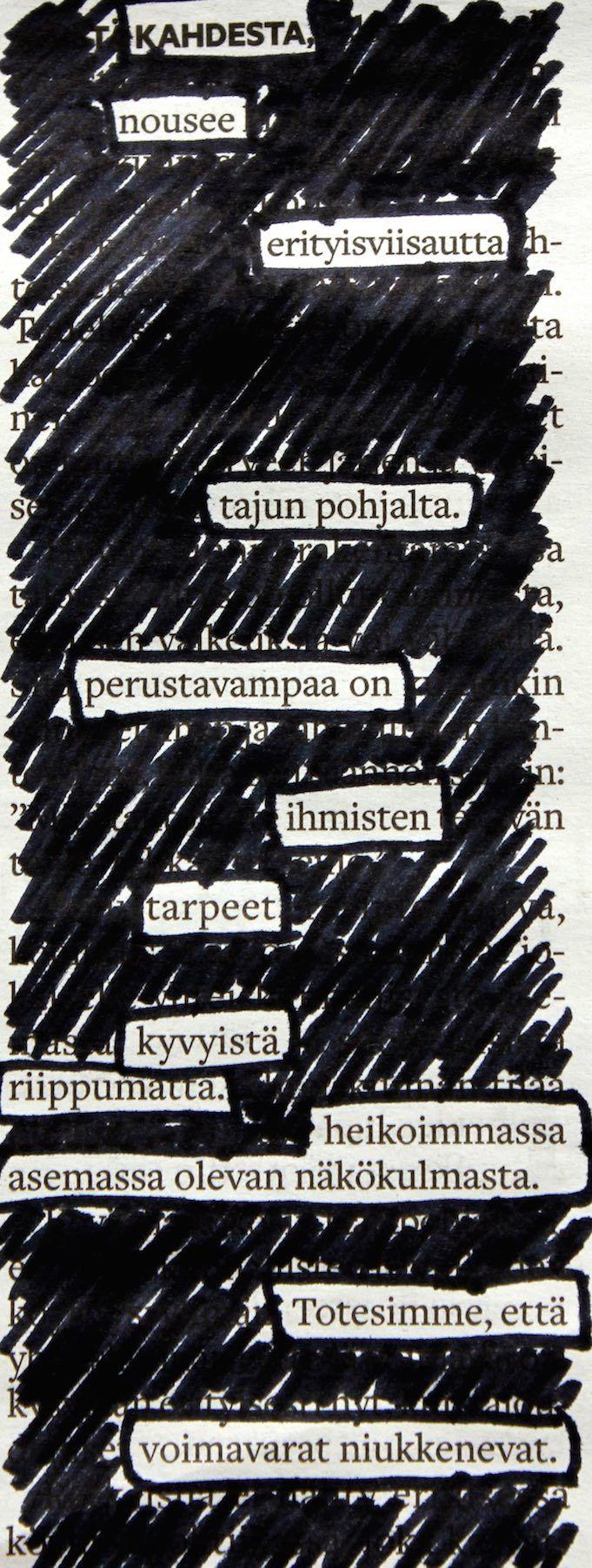 AI, KU: Austin Kleonin innoittamana Aamulehdestäkin voi tehdä runoja. Runoista voi tehdä visuaalisia tai mustata kaikki muut sanat.   #aamulehti #koulumaailma #newspaperblackout