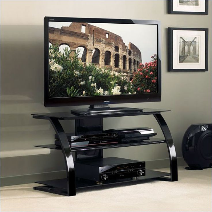 Black TV Stand Flat Screen 42 Inch Television Entertainment Center dlp 52 30