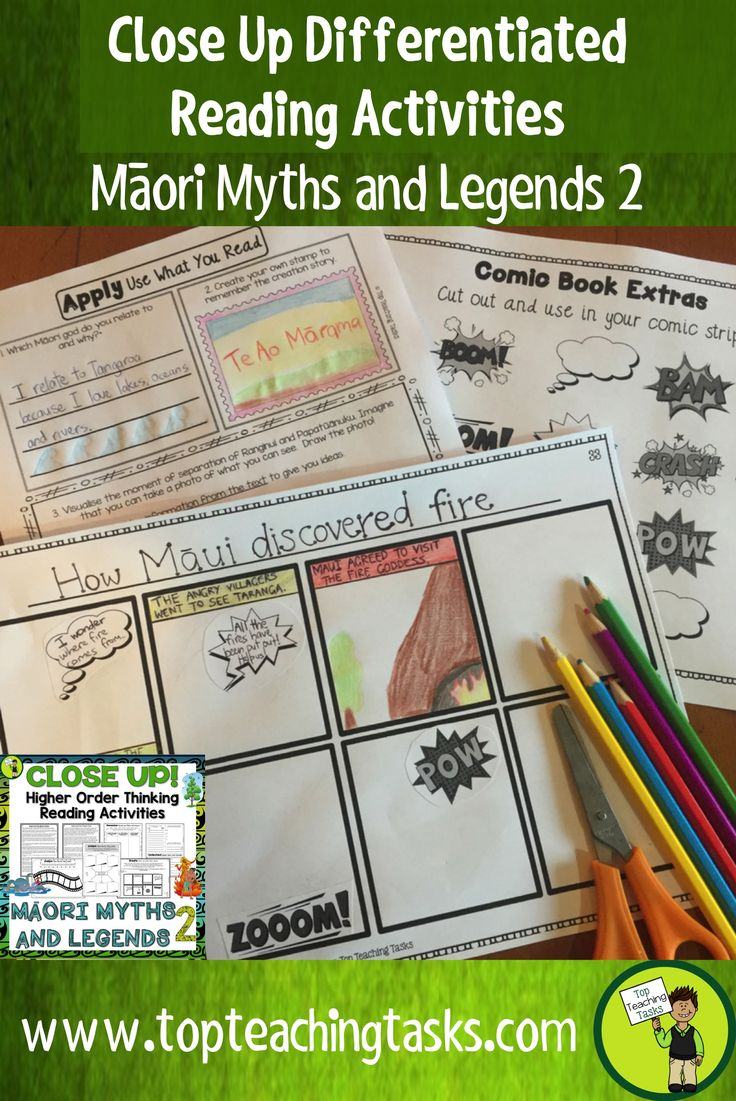 This Maori Myths and Legends (Volume Two) differentiated reading comprehension resource includes FOUR Year Five and Six fiction literature passages with six engaging text dependent higher order thinking tasks - perfect for reading comprehension! These print and go worksheets link directly to the New Zealand Curriculum, Level Three. Also suitable for Year Seven and Eight. Featuring - The Creation of Night and Day, Kupe and the giant wheke (octopus), How Māui discovered fire and Rata and the…