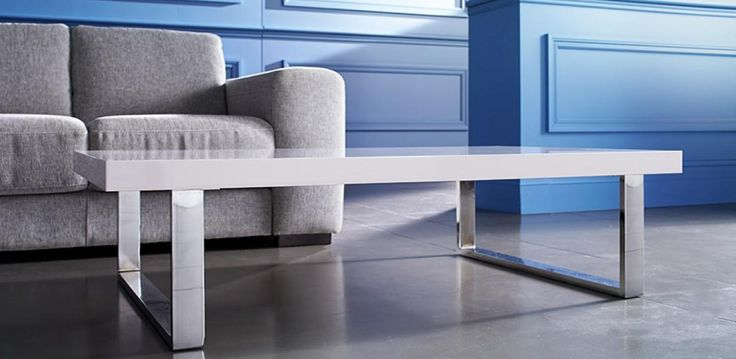 High gloss white top coffee table with legs in Chrome