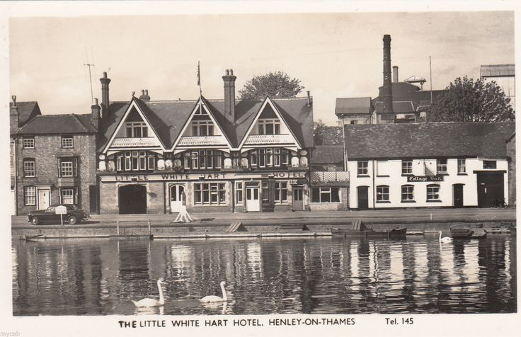 Postcard Henley on Thames Oxfordshire the Little White Hart Hotel by river RP | eBay