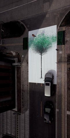 In a project commissioned by the China Environmental Protection Foundation to walk more and drive less, DDB China's Jody Xiong came up with the idea of sprawling a 12.6m x 7m canvas of a leafless tree across a pedestrian crossing. Pedestrians who crossed the road from either side would leave their green footprints behind — they first had to walk over a flat sponge that was soaked in green paint — so the more people walked, the more they helped the world to be green.  -Article by Low Lai Chow