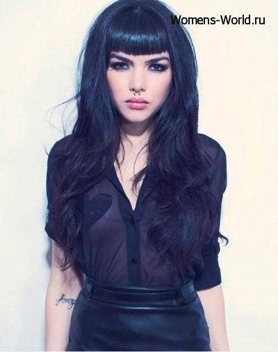 Короткие челки с длинными волосами фото