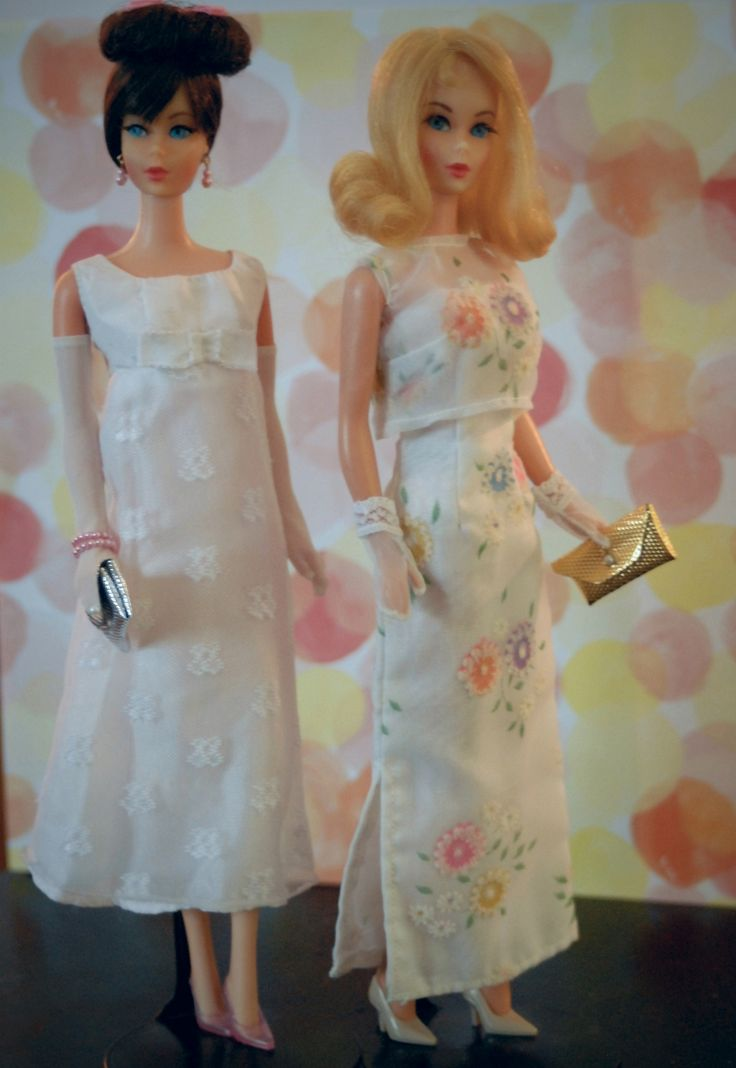 https://flic.kr/p/sFXcw8 | Vintage Twist n' Turn Barbies | Hair Fair Barbie and Marlo Flip Barbie are dressed for a Summer Formal