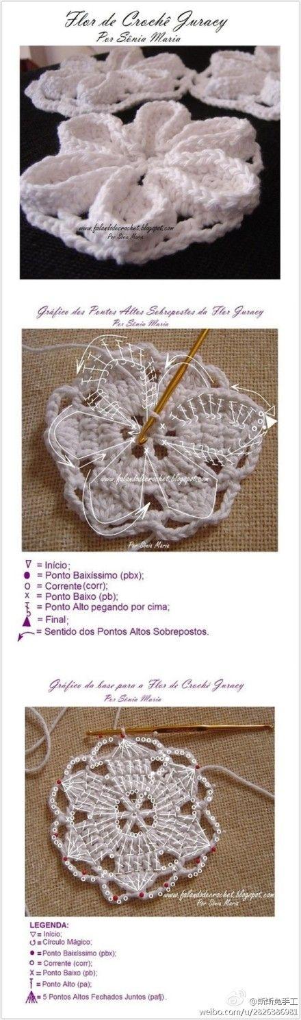 ╭✿✿╯Flor  em Crochê -  /  ╭✿✿╯Flower Crochet -