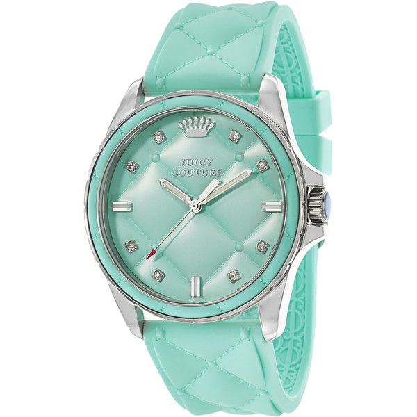 Juicy Couture Stella 1901243 Women's Stainless Steel Watch ($175) ❤ liked on Polyvore featuring jewelry, watches, blue, juicy couture crown, blue jewelry, blue dial watches, dial watches and blue strap watches