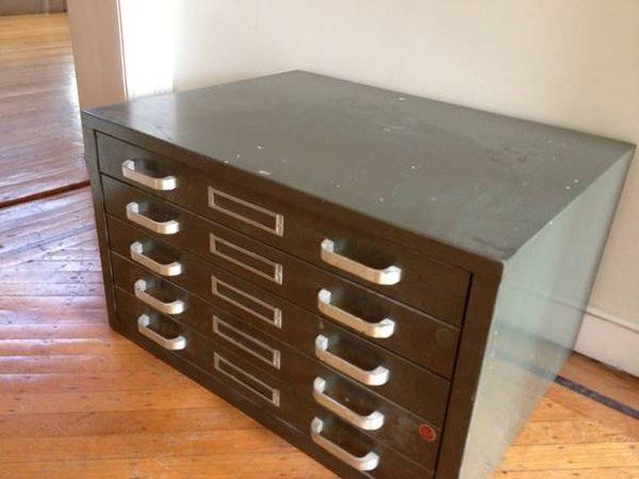 Flat file for art supplies- shelves to hang above