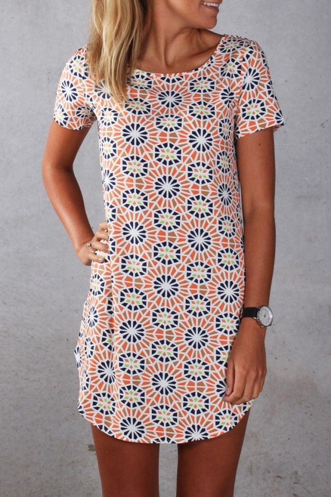 """LOVE the print and the color. I can't wear anything this short but as I am 5'3"""", dresses like this end up being longer on me than they are on leggy models."""