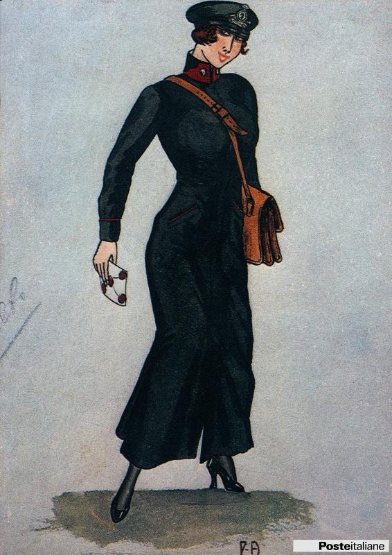 Antiche divise postali del Regno d'Italia: divisa da donna portalettere. Acquarello su carta, Museo delle Poste e Telecomunicazioni, Roma.