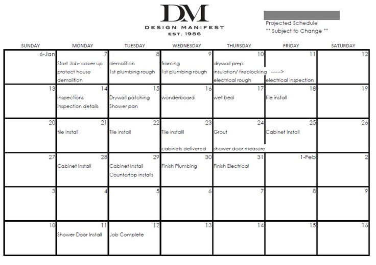 design manifest the construction schedule for a full