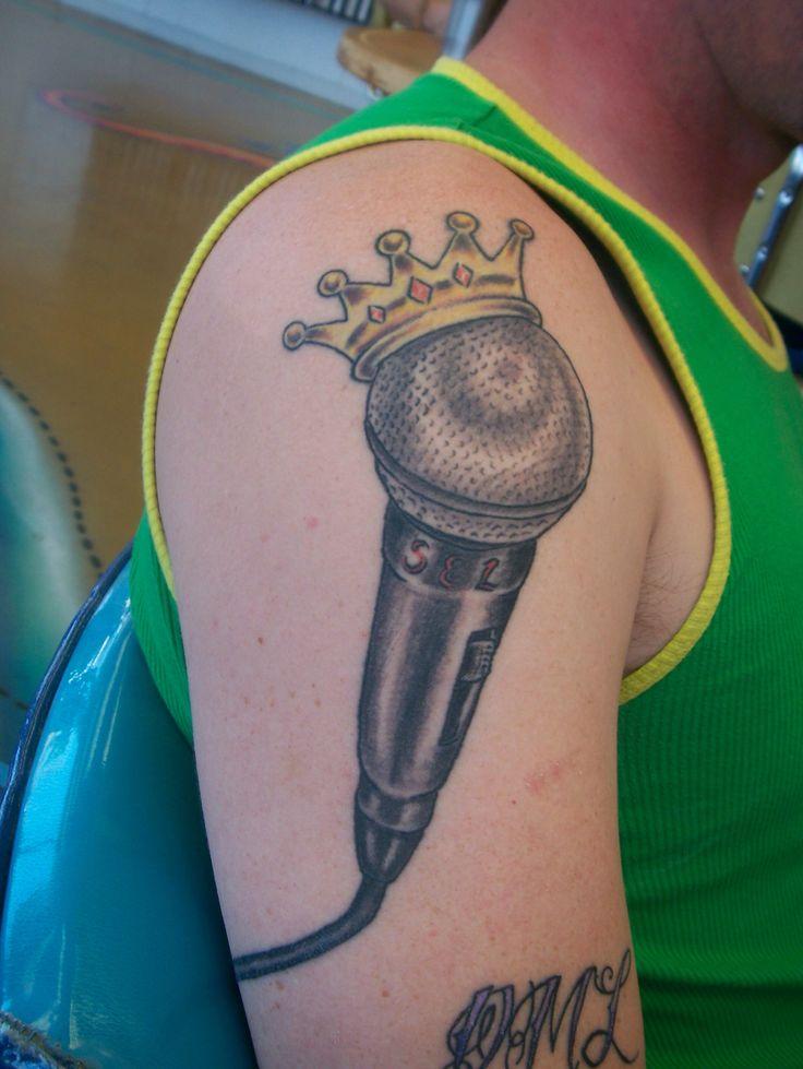 Rev Tulsa Tattoo Co Crown Microphone DJ Tattoo