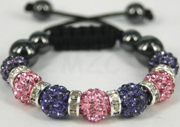 Cute Kids Jewelry Lot!Free Shipping! 7 Bead 10mm XQ micro pave CZ Disco Ball Beads Spacer Shamballa Crystal Bracelet. New !
