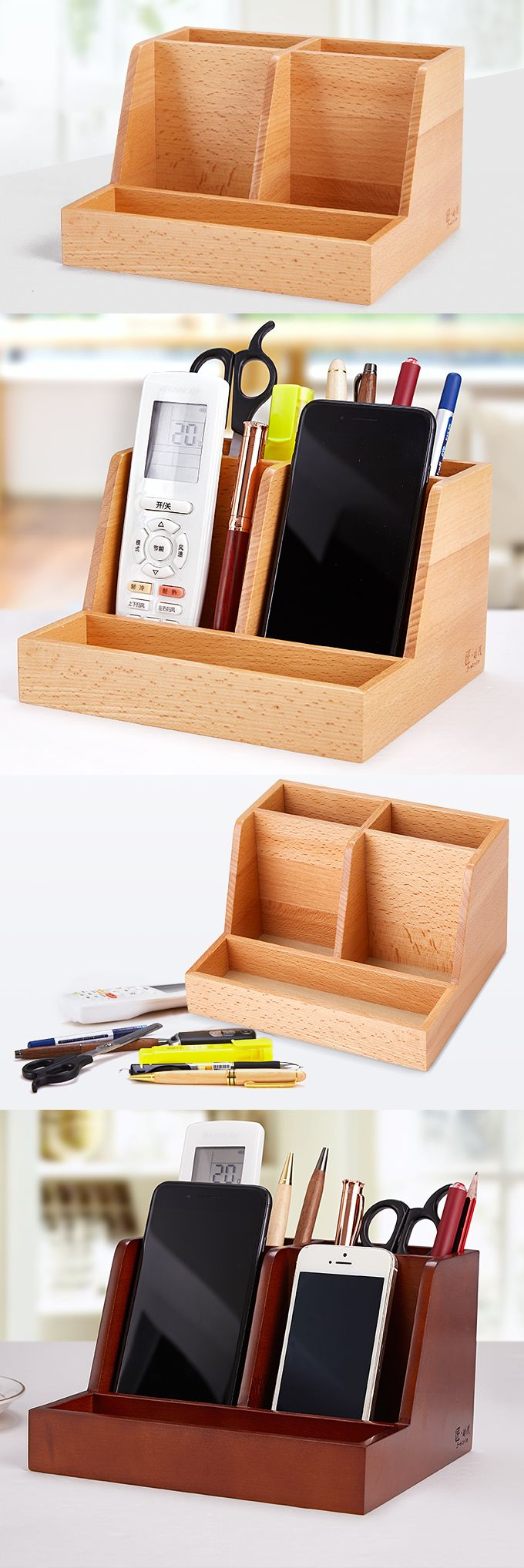 Bamboo Wooden Office Desk Organizer Storage Box Pencil Holder Business Card Holder Smart Phone Mobile Phone Dock Stand Paper Clip Holder Collection Storage Box Organizer Remote control holder Organizer Memo Holder - Phone Stand