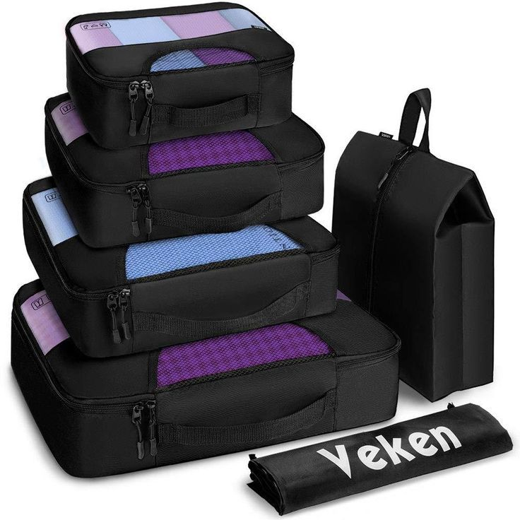 19 90 6 Set Packing Cubes Travel Luggage Organizers With Laundry Bag And Shoe Bag Black Travel Luggage Organization Luggage Organization Packing Luggage