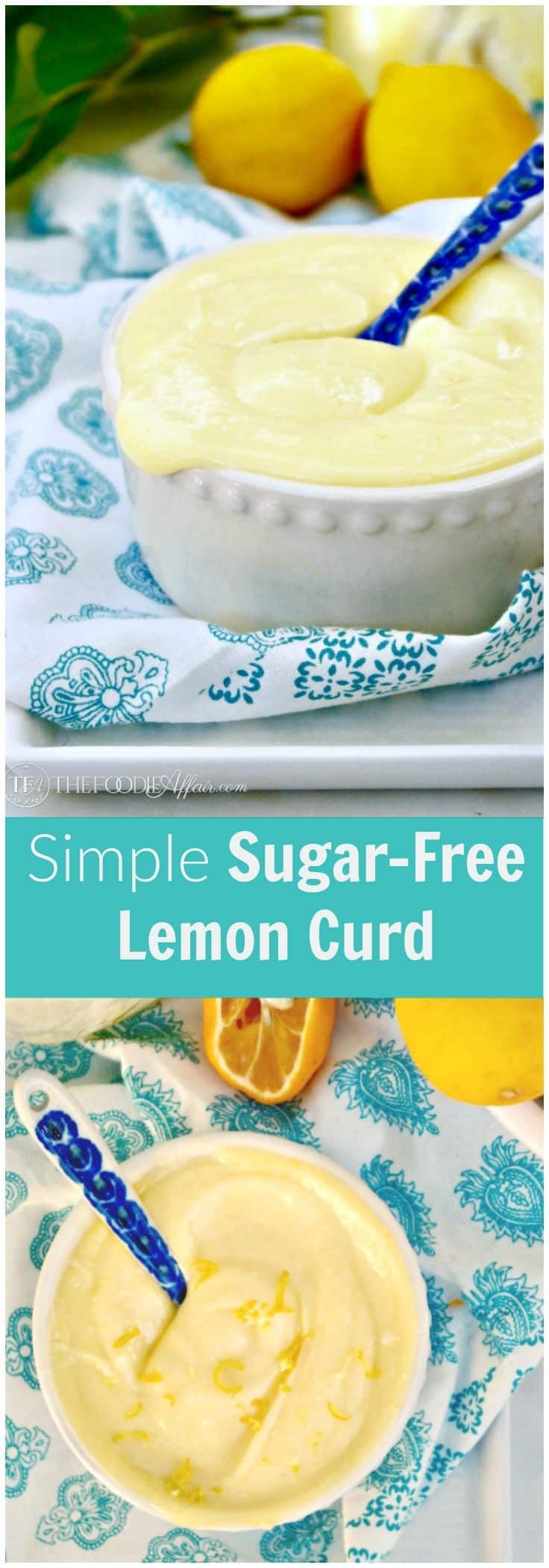 Sugar Free Lemon Curd with the same creamy texture as curd with granulated sugar. Eat by the spoonful or add this lower carb spread and topping to desserts. #SugarFree #Curd #Lemon