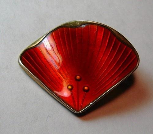 Ivar Holt Norway Sterling Silver 925S Red Enamel