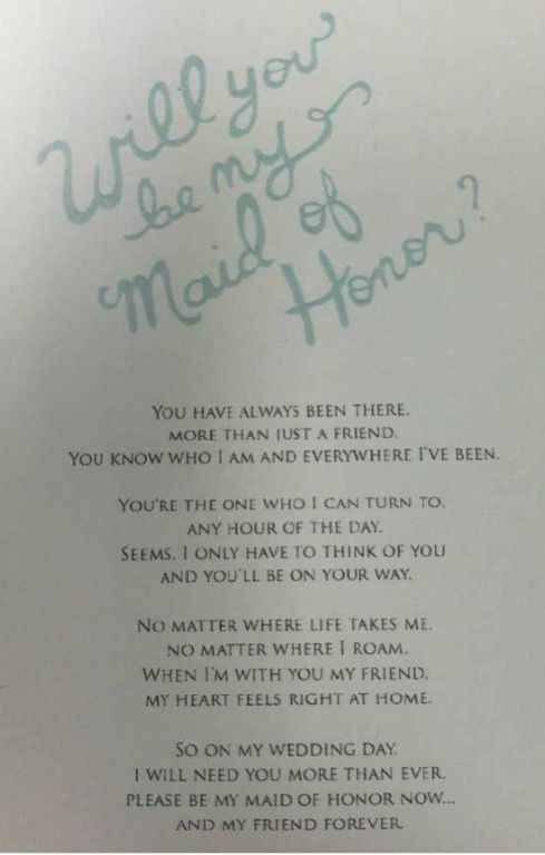 Awesome way to ask your friend to be the Maid of Honor! And how sweet! I loved getting this one!!