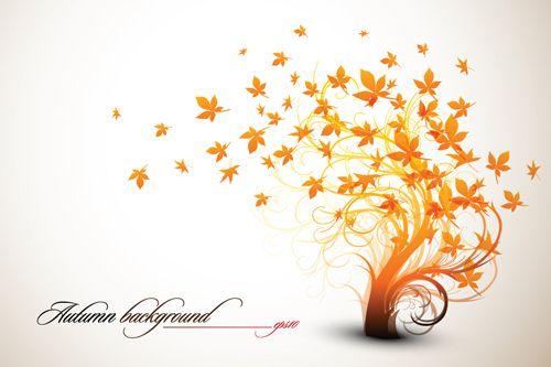 Set of Leaf fall vector backgrounds 01