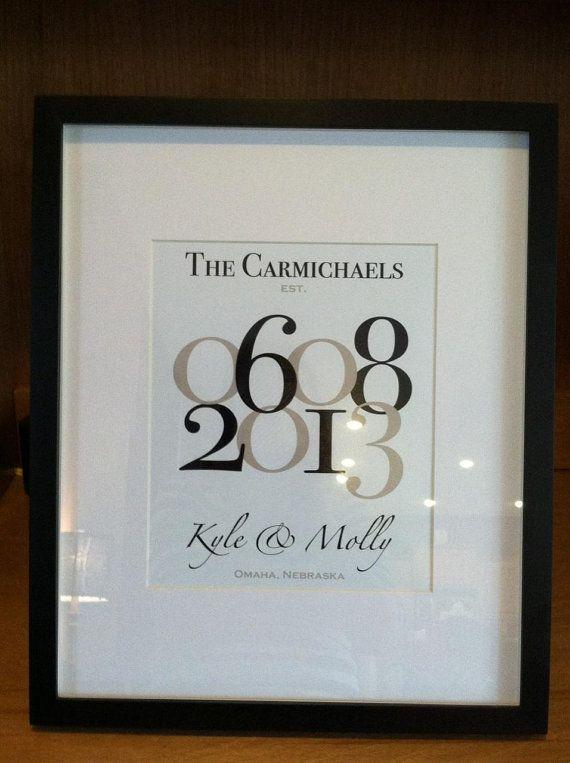 "Wedding Date Family Name Print with Wedding Location/Numbers - Custom Wedding Gift - 8""x10"""