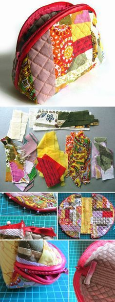 How to make DIY tutorial cosmetic bag purse fabric sewing quilt patchwork. http://www.handmadiya.com/2015/12/cosmetic-bag-patchwork.html