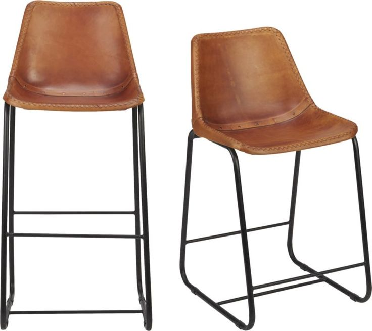 Roadhouse Leather Bar Stools | CB2  $279.00 These Are Cool And Add A Little