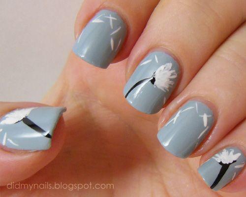 Dandelion nail art (original design by MaD Manis)