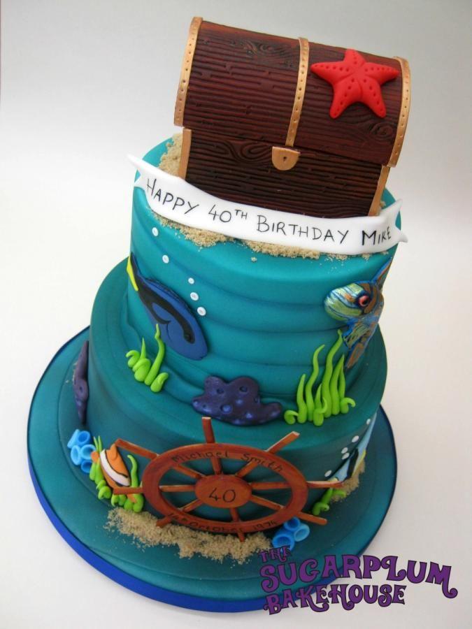 Tropical/Marine Underwater Birthday Cake  Sea, tiered, 2 tier, treasure chest, fish, wheel, starfish