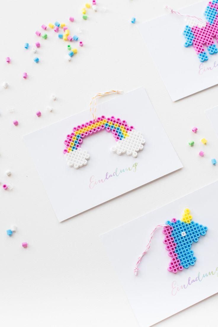 DIY: Einhorn Einladung mit Bügelperlen - Hochzeitsblog Fräulein K. Sagt Ja