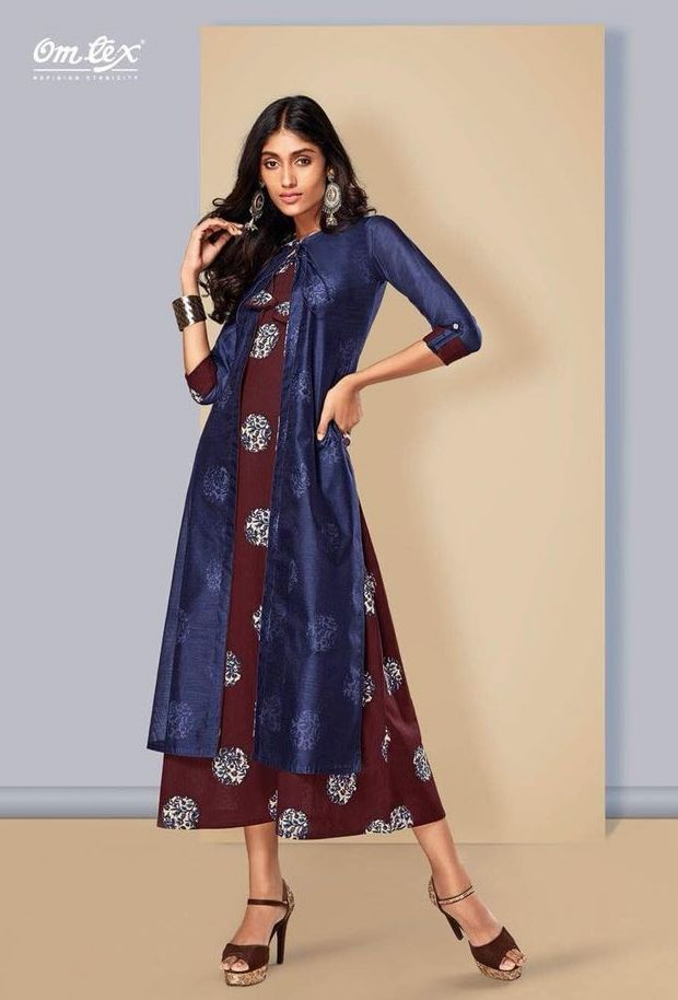 cccc312af3 Omtex Hues Heavy Designer Chanderi Party wear Readymade Kurtis Collection  at Wholesale Rate