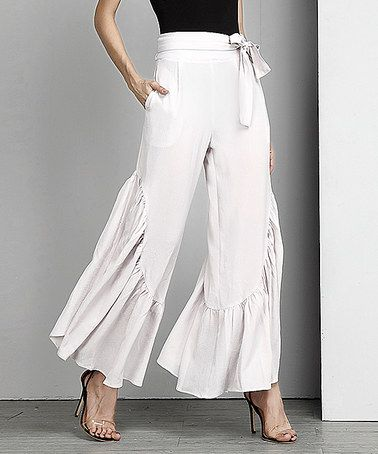 Loving this Beige Chiffon High-Waist Ruffle Palazzo Pants on #zulily! #zulilyfinds