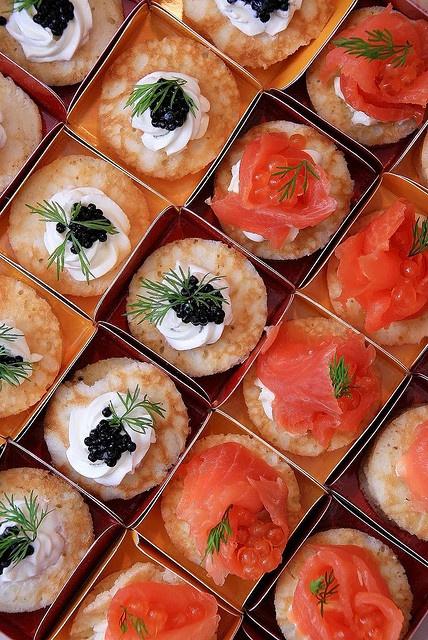 Salmon and caviar blinis