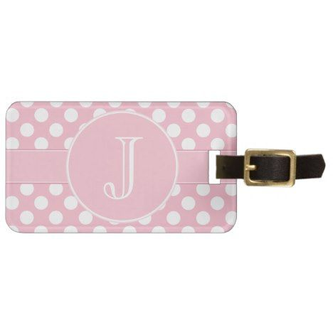 Pink and White Polka-Dot Monogrammed Luggage Tag #polkadot #pattern #accessories