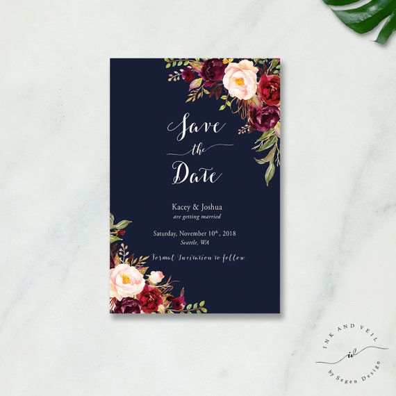 Hey, I found this really awesome Etsy listing at https://www.etsy.com/listing/499328839/navy-floral-save-the-date-card-bohemian