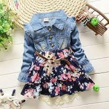 Resultado de imagen para vestido de jean para niña