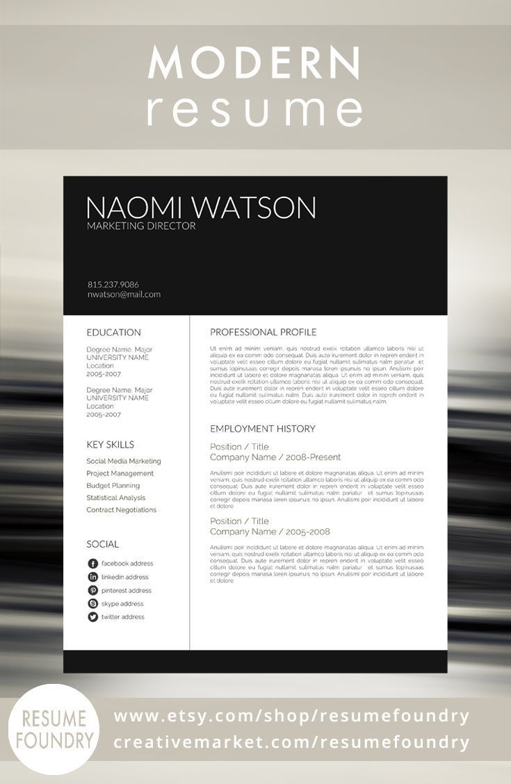 Modern Resume Template 82 best Creative Market