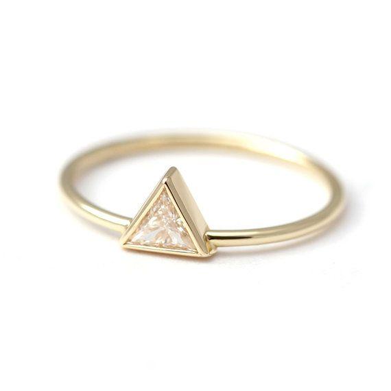 Trilione Diamond Ring - anello di fidanzamento - 0,2 carati trilione Diamond…