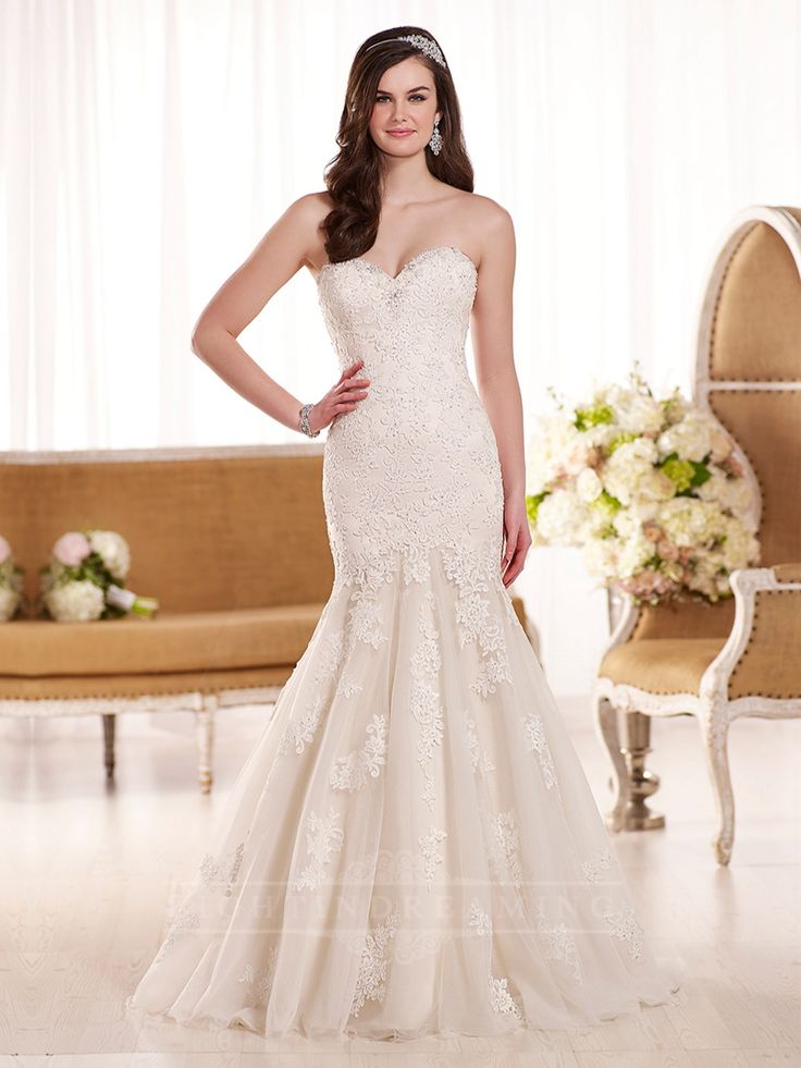 Fit and Flare Sweetheart Neckline Lace Embellished Wedding Dress