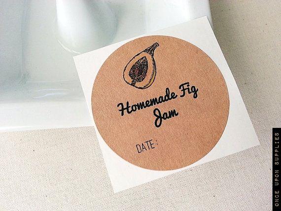 Homemade Fig Jam Jar Labels For Regular Size Jars / Canning Labels / Food Labels / Once Upon Supplies