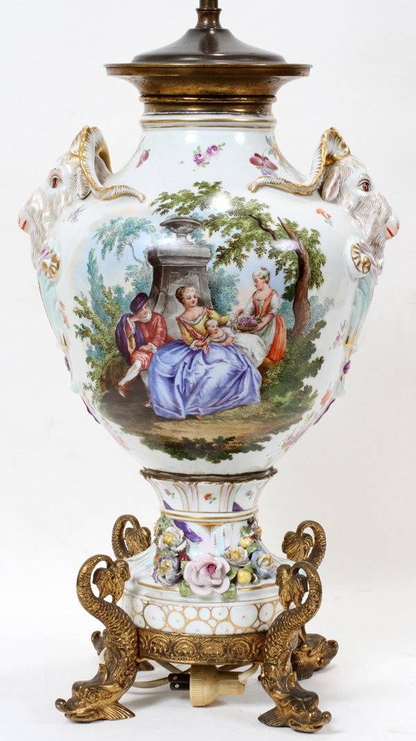 DRESDEN GERMAN PORCELAIN TABLE LAMP, C 1875