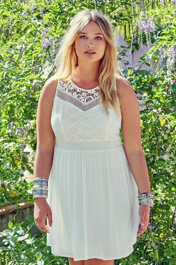 Plus Size Crochet-Panel Dress