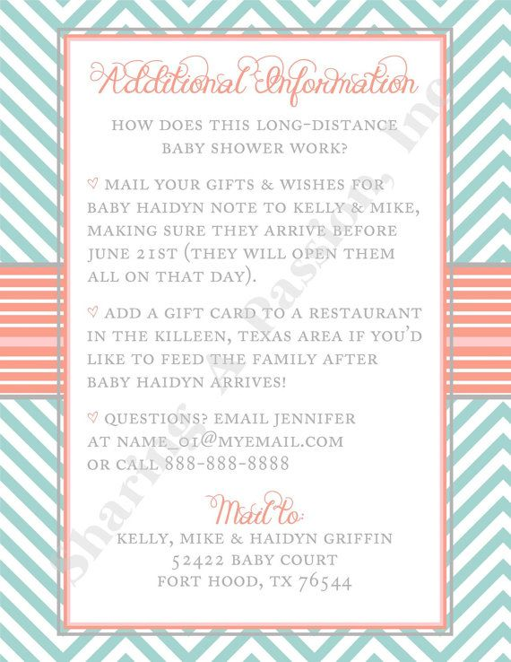 Baby Shower Please Mail Gifts ~ Turquoise and coral baby shower invitation by