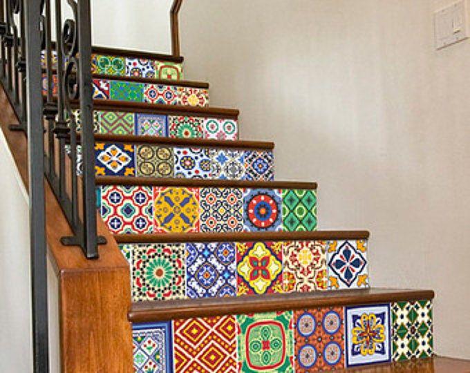Talavera Tegels - Staircase - Tegel Decals - Tegelstickers - badkamer - Pack van 48 - SKU: StairTalPat
