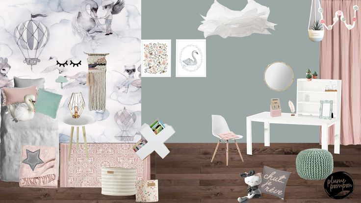 Eve's bedroom: antique green, blush and grey